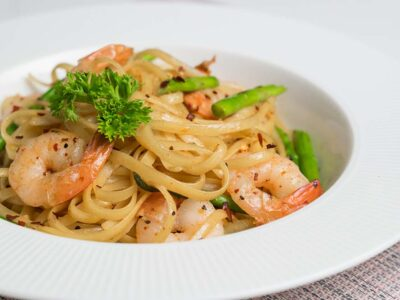 Wafu Prawns Pasta with Asparagus (serves 2)