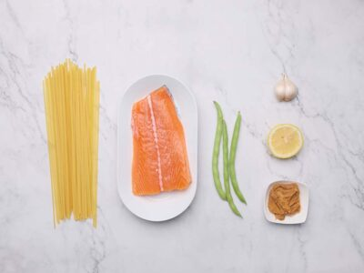 Baked Parchment Miso Salmon with French Beans and Pasta (serves 2)