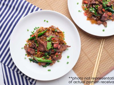 Pad See Ew (Thai Stir Fried Noodles with Beef & Kai Lan) (serves 2)