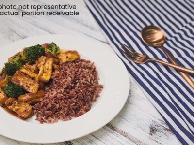 General Tso's Tofu with Broccoli and Multigrain Rice (Vegetarian) (serves 2)