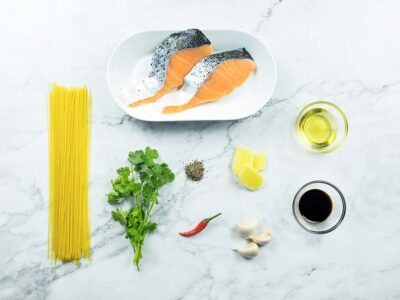 Indonesian Salmon Angel Hair Pasta (serves 2)