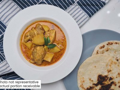 Rice Cooker Curry Chicken with Prata (serves 2)