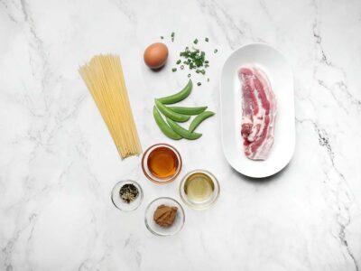 Sticky Pork Belly & Egg Mazemen (serves 2)