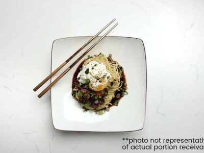 Sticky Pork Belly & Egg Mazemen (serves 2)