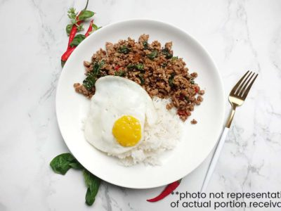 Thai Basil Pork with Rice (serves 1)