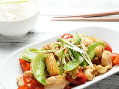 Stir Fry Cashew Chicken with Rice (serves 2)