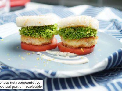 Shrimp & Tofu Katsu Rice Burger (serves 2)