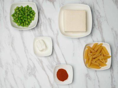 Creamy Peas & Spiced Tofu Penne (Vegetarian) (serves 2)