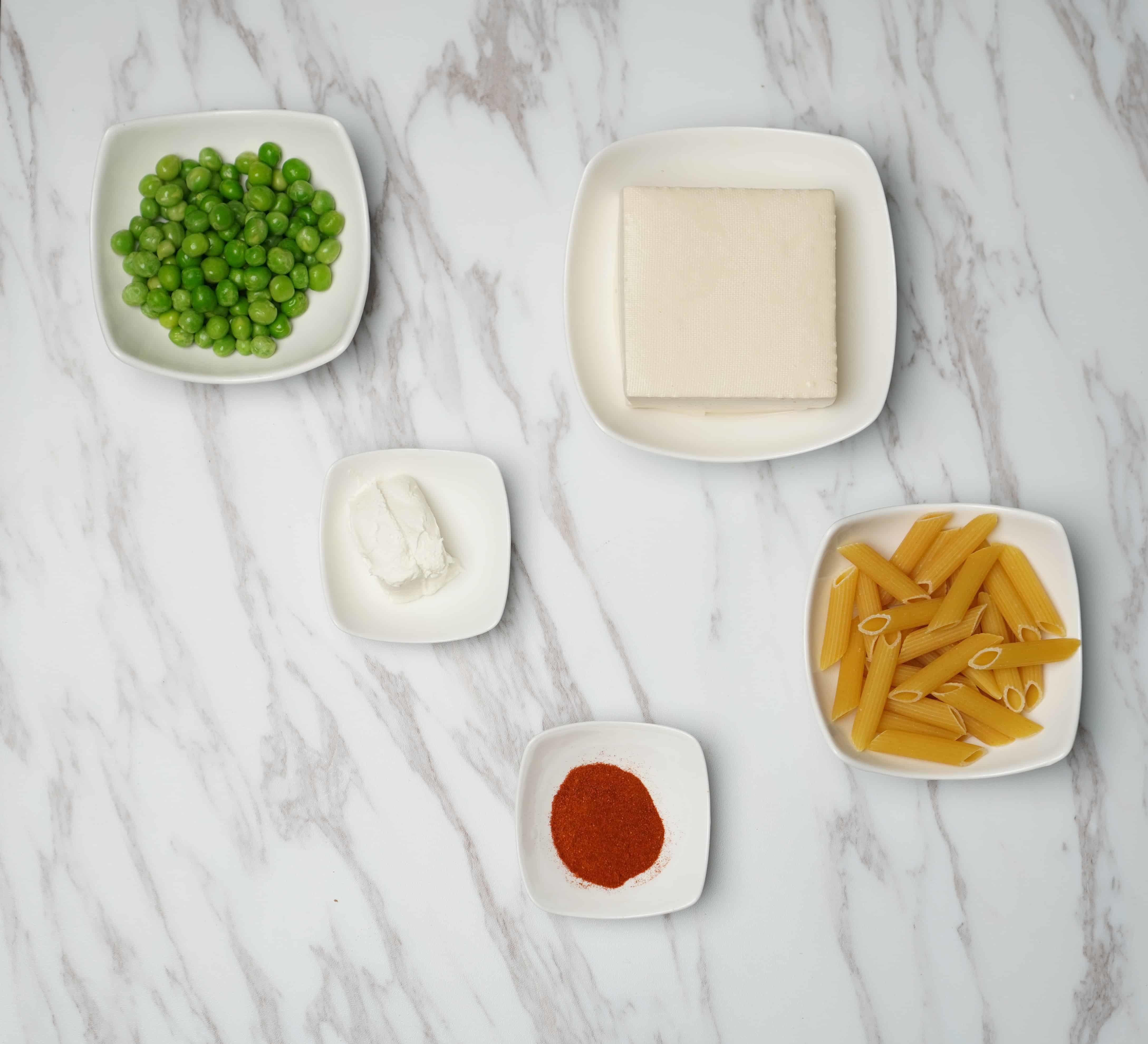 Creamy Peas & Spiced Tofu Penne (Vegetarian) - Ingredients - Cookin1