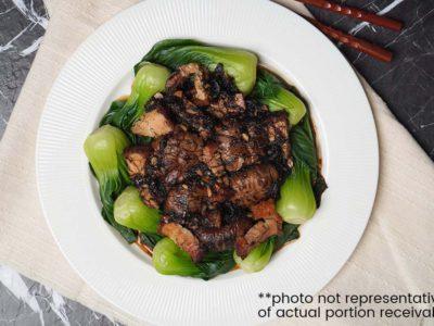 Braised Mushrooms with Roast Pork & Fatt Choy (serves 2)
