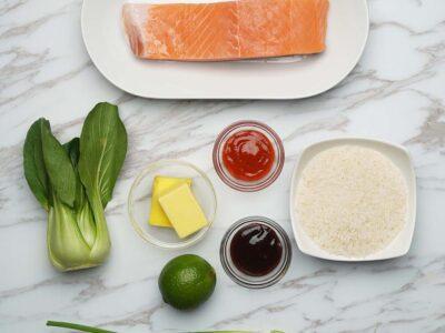 Pan Seared Sriracha-Glazed Salmon (serves 2)