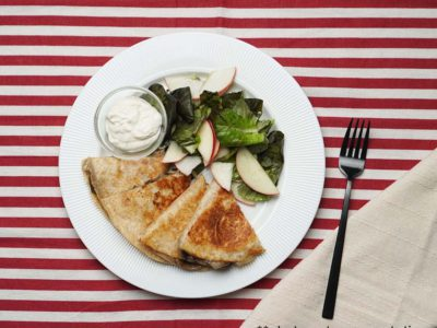 Mushrooms Tortilla Melts with Apple Salad (Vegetarian) (serves 2)