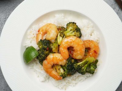 Sweet Chilli Prawns & Broccoli Stir Fry (serves 2)