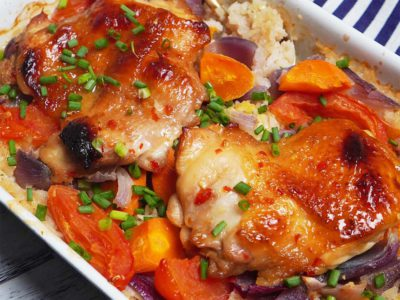 Baked Sweet Chilli Chicken Rice (serves 2)