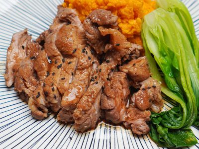 Honey Soy Glazed Pork with Sweet Potato Mash (Serves 2)