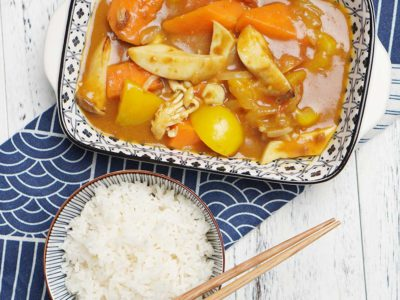Japanese Curry Mushrooms & Vegetables with Rice (Vegan) (Serves 2)