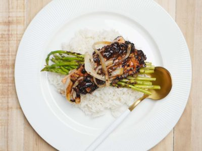 Steamed Black Bean Salmon Asparagus with Rice (Serves 2)