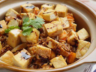 Rice Cooker Vegan Yam Rice (Serves 2)