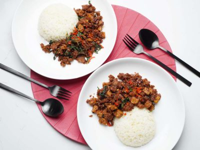Thai Vegan Basil Pork with Rice (Serves 2)
