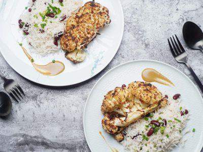 Cauliflower Steak with Rice & Beans (Serves 2)
