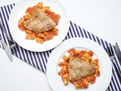 Herb Crusted Halibut with Potato Gnocchi (Serves 2)