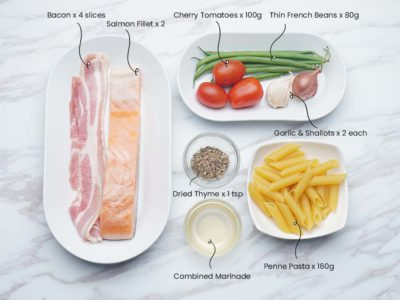 Bacon Wrapped Salmon with Vegetables (Serves 2)