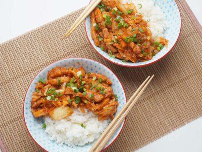Kimchi Pork Belly Rice Bowl (Serves 2)