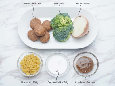 Swedish NOMeatballs Macaroni (Serves 2)