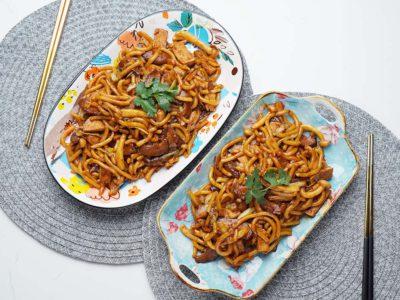 Soy Braised Mushrooms Tofu Udon (Serves 2)