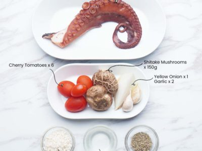 Octopus, Mushrooms & Tomatoes Risotto (Serves 2)