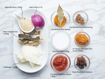 Vegan Fish Curry with Biryani Rice (Serves 2)