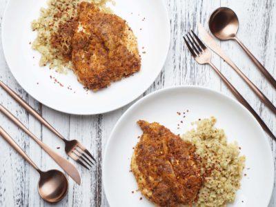 Garlic Butter Parmesan Chicken with Cauliflower Rice (Serves 2)