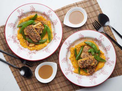 Vegan Seeds Crusted Tofu with Sweet Potato Chickpeas Mash (Serves 2)