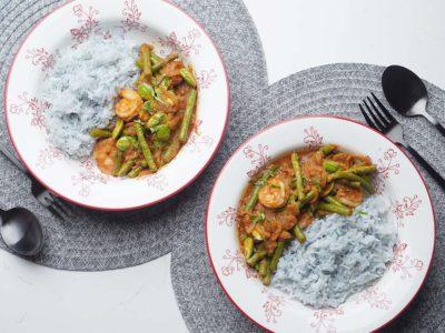 Sambal Petai Prawns with Bluepea Rice (Serves 2)